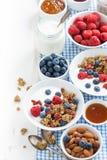 用早餐与格兰诺拉麦片、新鲜的莓果、蜂蜜和酸奶在白色 免版税库存图片