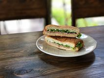 用早餐用新鲜的三明治、金枪鱼和火腿三明治 免版税库存照片