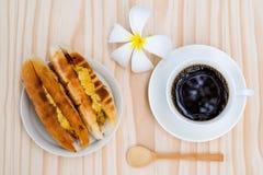 用早餐用贝克越南人或越南面包和黑coff 免版税库存照片