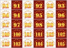 用星圈子从91的金子数字到105和年的词装饰的套  也corel凹道例证向量 翻译从 库存例证