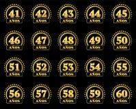 用星圈子从41的金子数字到60和年的词装饰的套  也corel凹道例证向量 翻译从 库存例证