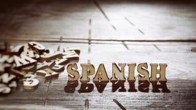 用木信件做的词西班牙语 库存图片