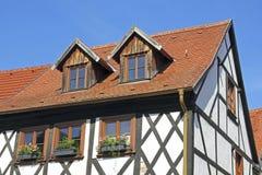 用木材建造的半房子tangermuende 免版税库存图片