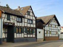 用木材建造的古老德国半房子 库存图片