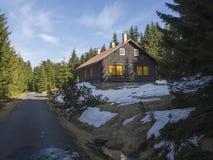 用木材建造的村庄,在柏油路旁边的原木小屋在Jizerske hory山在春天有豪华的绿色云杉的树森林的 库存照片