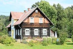 用木材建造的山村庄 免版税库存图片