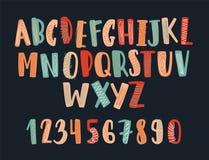 用杂文或幼稚英语字母表装饰的创造性的手拉的拉丁字体 被安排的五颜六色的信件  皇族释放例证