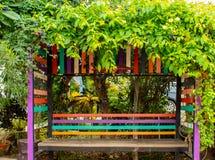 用树盖的木椅子 免版税库存图片