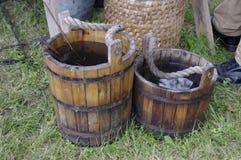 用桶提木 免版税库存图片