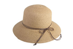 用棕色皮革绳索装饰的被编织的帽子 免版税库存照片