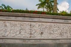 用植物和花rafflesia装饰的带状装饰 米里市爱好者公园,婆罗洲,沙捞越,马来西亚 库存图片