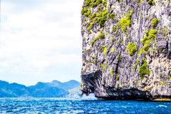 用植物盖的蓝色海,海的美妙的看法峭壁 El Nido巴拉望岛菲律宾 库存照片