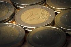 用欧洲硬币做的背景 库存图片