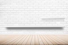 用水泥涂地板地板想法在墙壁家具树荫白色背景架子,橙色墙壁的室内设计架子 免版税图库摄影
