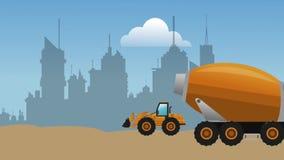 用水泥涂通过城市HD定义的卡车和反向铲 皇族释放例证