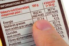 用法语写的食物的营养价值 免版税图库摄影