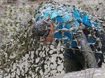 用泥盖的人爬行在伪装网下 库存图片