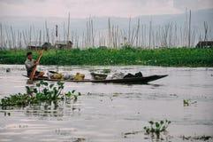 用浆划在Inle湖的一条小船 免版税库存图片