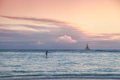 用浆划夏威夷的海浪 库存图片