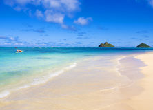 用浆划姐妹二的夏威夷皮船 免版税库存照片