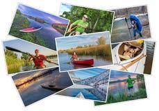 用浆划皮船、独木舟和一口图片集合 库存照片