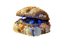 用海壳装饰的箱子 库存照片
