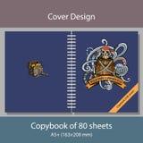 用海盗主题报道笔记本的设计 免版税图库摄影
