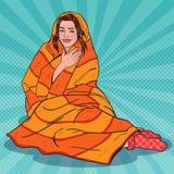 用温暖的毯子报道的流行艺术俏丽妇女放松 女孩感觉的寒冷 皇族释放例证