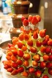 用热带水果displa做的草莓健康果子kebabs 免版税库存图片