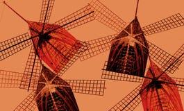 用照片拼贴画做的风车数字式艺术  库存图片
