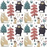 用熊做的新的无缝的逗人喜爱的冬天圣诞节样式,兔子,蘑菇,灌木,植物,雪,树 库存图片