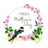 用燕子和桃红色开花为母亲` s天导航贺卡的例证装饰的 库存照片