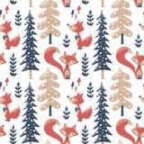 用狐狸做的无缝的逗人喜爱的冬天样式,树,植物,蘑菇 免版税库存照片
