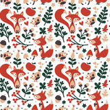 用狐狸做的无缝的逗人喜爱的秋天样式,鸟,花,植物,叶子,莓果,心脏,朋友,花卉,自然,橡子 库存图片