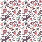 用猫做的无缝的逗人喜爱的动物样式,鸟,花,植物,叶子,莓果,心脏,朋友,花卉,自然 免版税库存照片