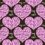 用猫装饰的桃红色心脏的无缝的样式 图库摄影