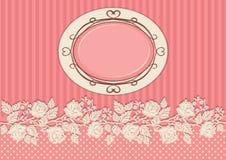 用玫瑰装饰的葡萄酒卡片 免版税库存照片
