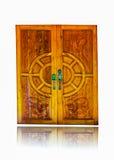 用现代样式金属门把手装饰的木门  免版税库存照片