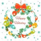 用球装饰的圣诞节花圈 免版税库存照片