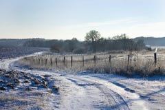 用白色锡报道的美好的圣诞节冬天风景领域 免版税库存照片