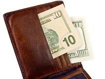 用皮革包盖钱包 库存图片