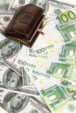 用皮革包盖钱包 免版税库存图片