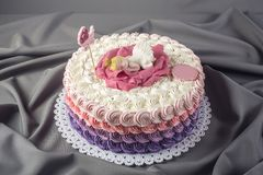 用睡眠小公主的一朵大花装饰的逗人喜爱的欢乐桃红色蛋糕 点心为一个生日 库存照片