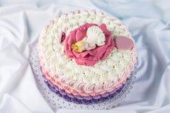 用睡眠小公主的一朵大花装饰的逗人喜爱的欢乐桃红色蛋糕 点心为一个生日 免版税库存照片