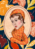 用秋叶装饰的女孩的画象 库存例证