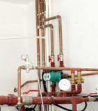用管道输送温度计 免版税库存图片