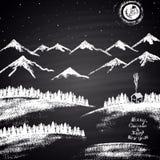 """用粉笔写与山、随风飘飞的雪、月亮、房子和""""圣诞快乐&新年快乐""""文本的拉长的圣诞节例证 免版税图库摄影"""