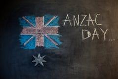 用粉笔写在澳大利亚的旗子的黑板和图片的题字 库存例证