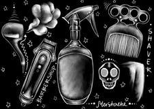 用粉笔写拉长的样式仪器、工具、家具和书法词在浅黑背景 库存例证