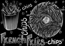 用粉笔写拉长的样式食物、包裹和书法词在浅黑背景 向量例证